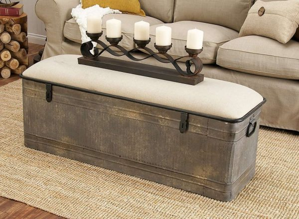 Metal & Fabric Storage Bench