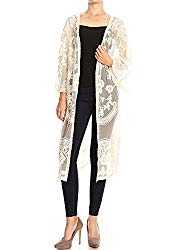 Anna-Kaci Womens Long Embroidered Lace Kimono Cardigan