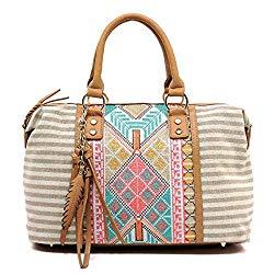 Boho striped canvas satchel bag