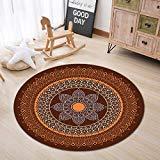 LB Mandala Floral Pattern Bohemian Round Shape Rug Mat