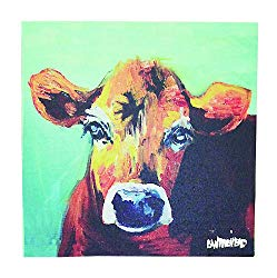farmhouse living room cow painting