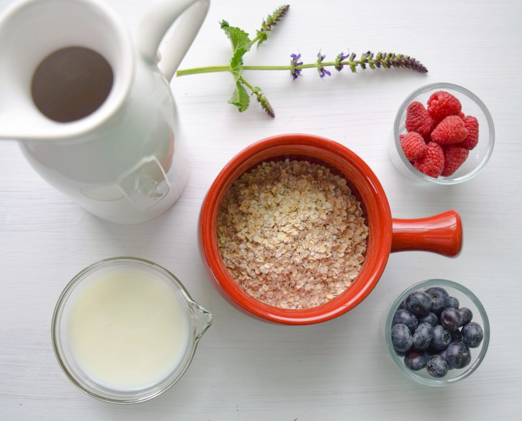 oat milk and oats and berries