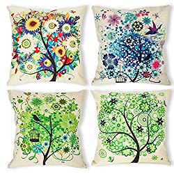 Colorful Trees Throw Pillow Set - Boho Style Home Decor