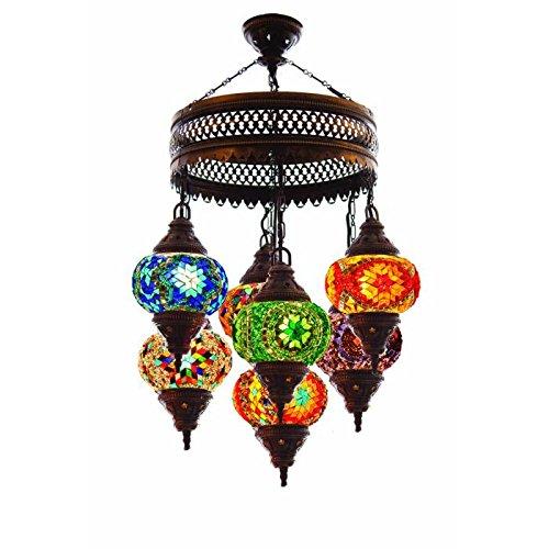 Moroccan Globe Mosaic Chandelier - Boho Style Home Decor